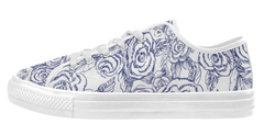 Sketch Roses on White Low Top