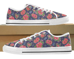Hibiscus floral print on low top sneaker by Liz Lauter