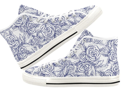 Sketch Roses on White High Tops
