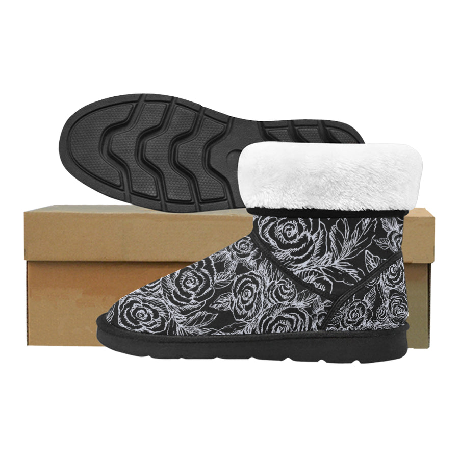 SKETCH ROSES ON BLACK Snow Boots - Liz Lauter Designs