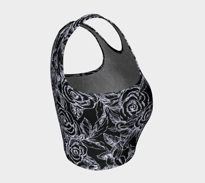 Sketch Roses white on black Athletic Crop Top - Liz Lauter Designs