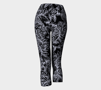 SKETCH ROSES on black capri leggings - Liz Lauter Designs
