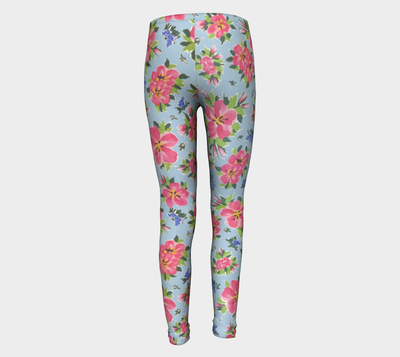 HIBISCUS on Sky Blue Youth Leggings - Liz Lauter Designs