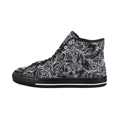 SKETCH ROSES ON BLACK High Tops with black trim - Liz Lauter Designs