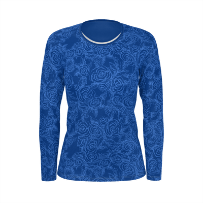 SKETCH ROSES DENIM BLUES LONG SLEEVE SHIRT - Liz Lauter Designs