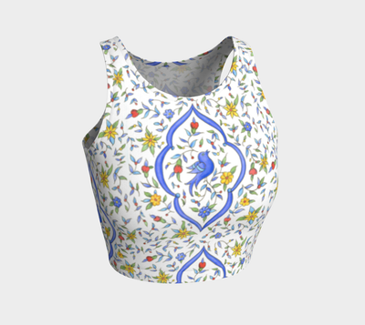 Blue Birds Athletic Crop Top - Liz Lauter Designs