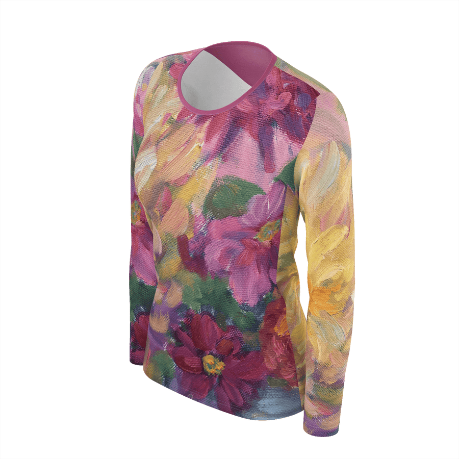 PINK DAHLIAS LONG SLEEVE SHIRT - Liz Lauter Designs
