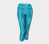 TURQUOISE EMBROIDERY Capri Yoga Pants - Liz Lauter Designs