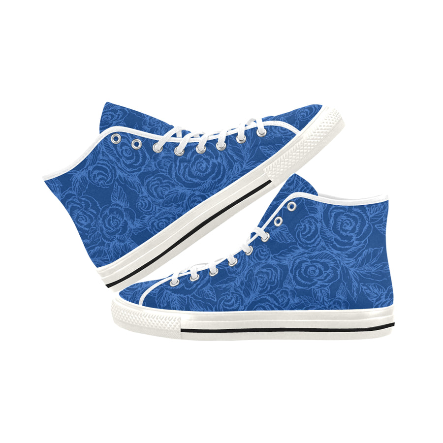 INDIGO SKETCH ROSES HIGH TOP SNEAKERS - Liz Lauter Designs