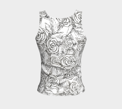 SKETCH ROSES ON WHITE TANK - Liz Lauter Designs