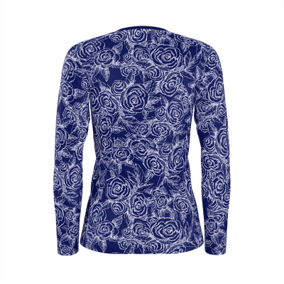 SKETCH ROSES ON NAVY LONG SLEEVE SHIRT - Liz Lauter Designs