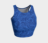 Sketch Roses Denim Blues Athletic Crop Top - Liz Lauter Designs
