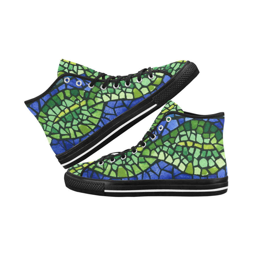 BLUE GREEN LEAF MOSAIC Women's HighTop Sneaker - Liz Lauter Designs
