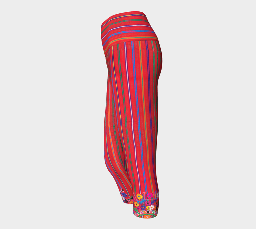 MEXICO EMBROIDERY STRIPE CAPRI Yoga Pants - Liz Lauter Designs