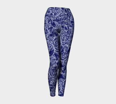 SKETCH ROSES ON NAVY Yoga Pants - Liz Lauter Designs