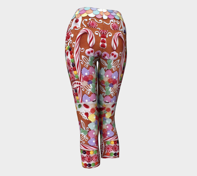GINGERBREAD WONDERLAND YOGA CAPRI PANTS - Liz Lauter Designs
