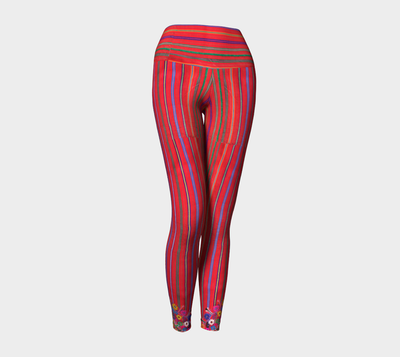 MEXICO EMBROIDERY STRIPE Yoga Pants - Liz Lauter Designs