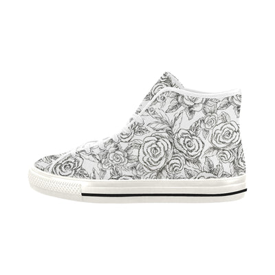 SKETCHES ROSES BLACK on WHITE High Top Sneakers - Liz Lauter Designs