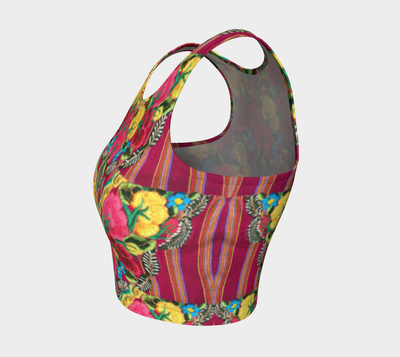 Folk Art Flowers Athletic Crop Top - Liz Lauter Designs