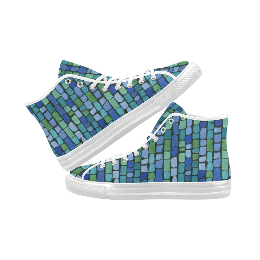 BLUES AND GREENS TILES High Tops - Liz Lauter Designs