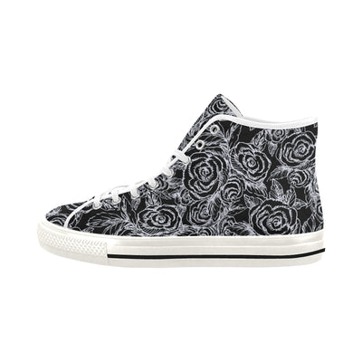 SKETCH ROSES BLACK BACKGROUND HIGH TOPS - Liz Lauter Designs