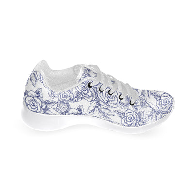 Roses Sketch Navy on White Soft Sneakers - Liz Lauter Designs