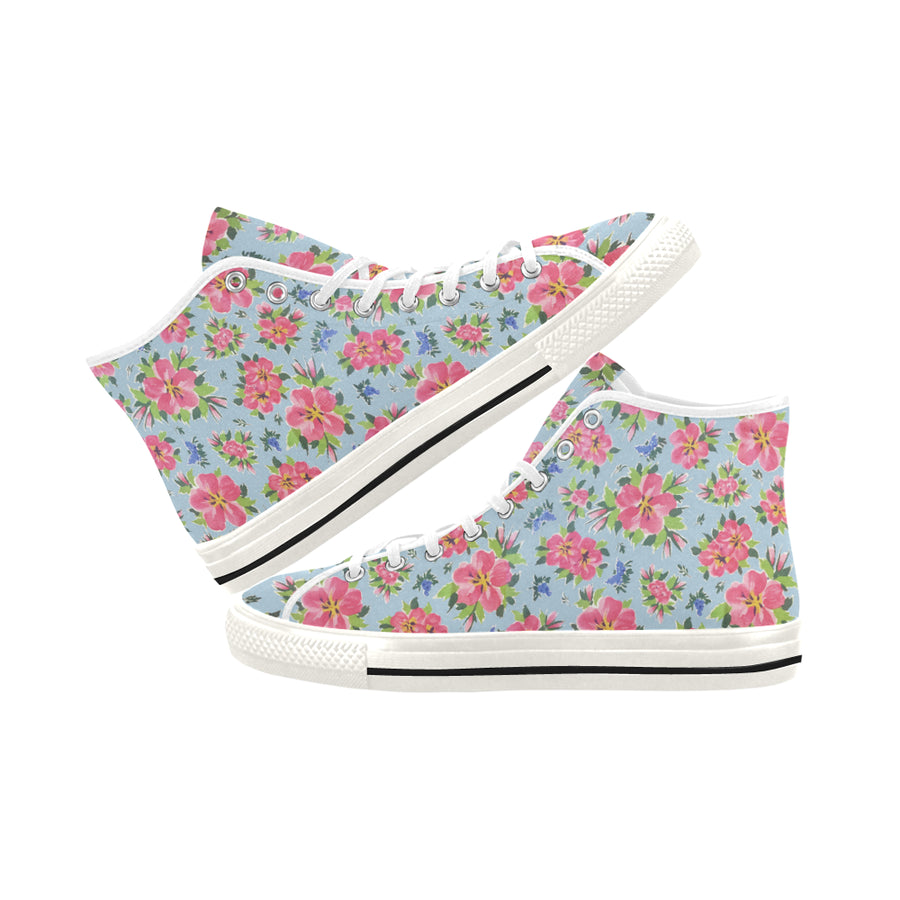 HIBISCUS on chambray High Top Women's Sneakers - Liz Lauter Designs
