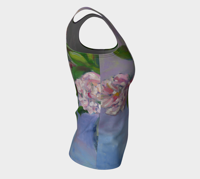 Hibiscus on Chambray Fitted Tank Top - Liz Lauter Designs