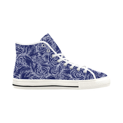 SKETCH ROSES NAVY BACKGROUND HIGH TOPS - Liz Lauter Designs