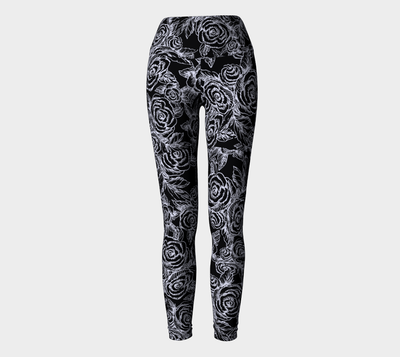 SKETCH ROSES ON BLACK Yoga Pants - Liz Lauter Designs