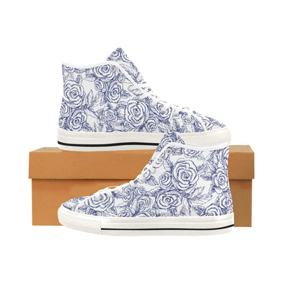 SKETCH ROSES NAVY on WHITE High Top Sneaker - Liz Lauter Designs
