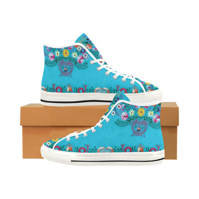 TURQUOISE EMBROIDERY HIGH TOP SNEAKERS - Liz Lauter Designs
