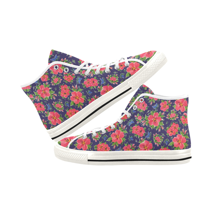 HIBISCUS on Navy High Top Women's Sneakers - Liz Lauter Designs