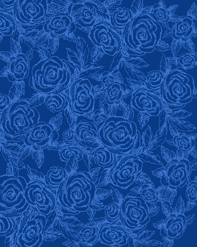 SKETCH ROSES DENIM BLUES Yoga Pants - Liz Lauter Designs