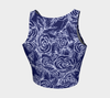 Sketch Roses white on navy Athletic Crop Top - Liz Lauter Designs