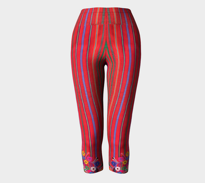 Mexico Embroidery Stripe Capri Leggings - Liz Lauter Designs