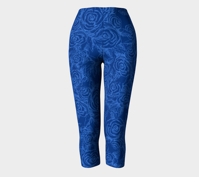 Sketch Roses Denim Blues Capri leggings - Liz Lauter Designs