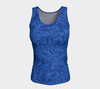 SKETCH ROSES DENIM BLUES Fitted Tank - Liz Lauter Designs