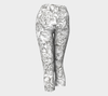 SKETCH ROSES BLACK ON WHITE CAPRI YOGA PANTS - Liz Lauter Designs