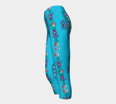 Turquoise Embroidery capri leggings - Liz Lauter Designs