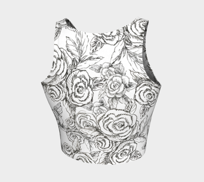 Sketch Roses black on white Athletic Crop Top - Liz Lauter Designs