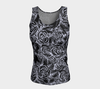 SKETCH ROSES ON BLACK fitted tank - Liz Lauter Designs