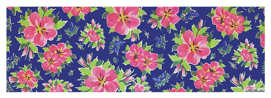 Hibiscus On Navy - Yoga Mat - Liz Lauter Designs