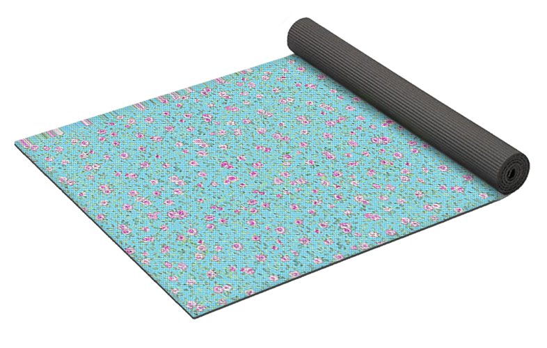 Little Roses On Blue - Yoga Mat - Liz Lauter Designs