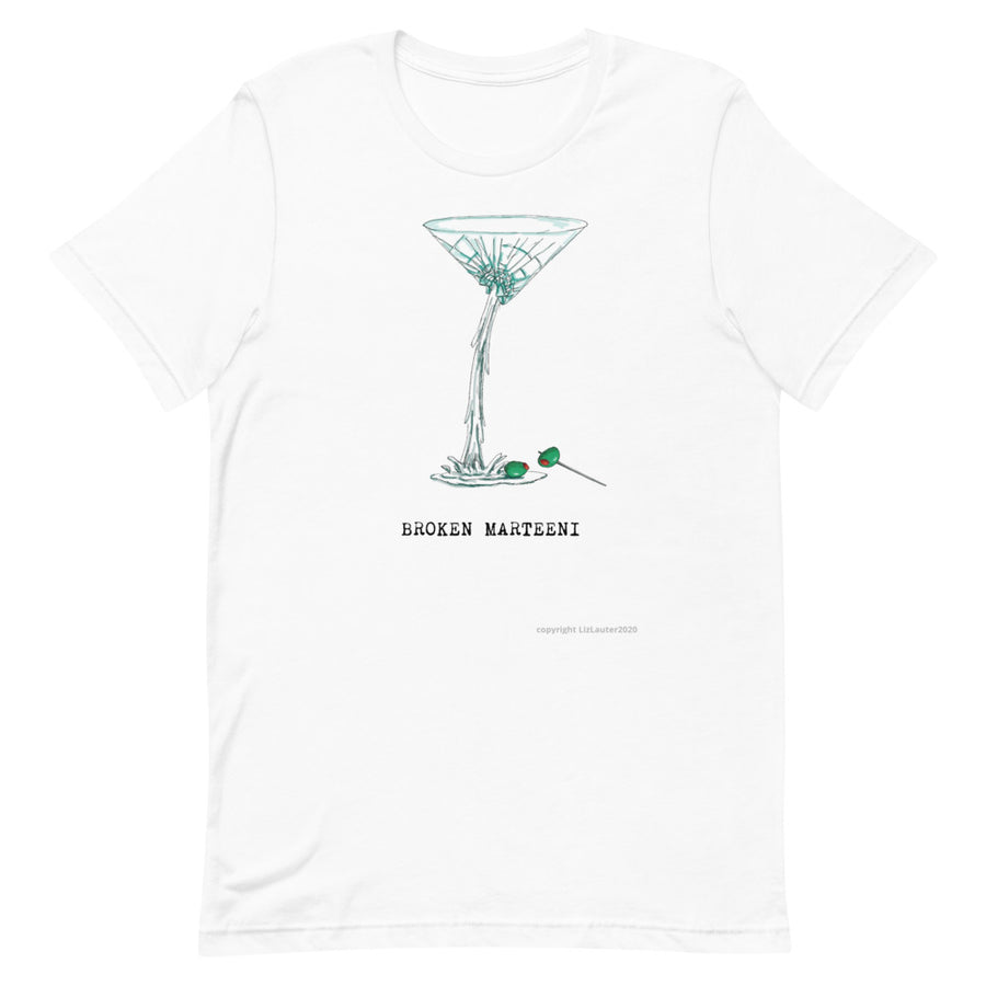 MARTINI T SHIRT Broken Martini design on funny t shirt