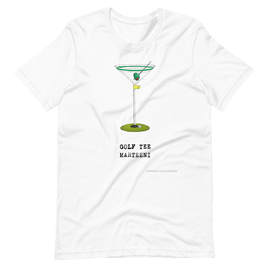 MARTINI TEE SHIRT Golf Tee Martini design on funny t shirt for the Marteeni collection