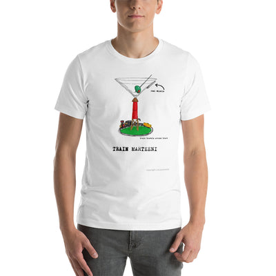 MARTINI TEE SHIRT Train Martini glass design on funny t shirt for the Marteeni Collection