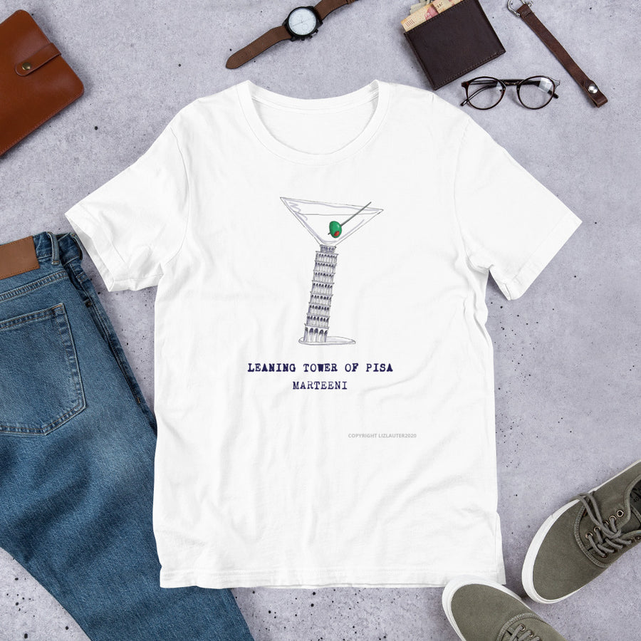MARTINI TEE SHIRT Leaning Tower of Pisa Martini design on a funny t shirt for the Marteeni collection