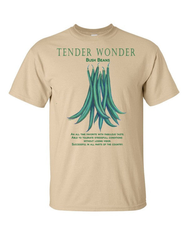 Bush Beans TENDER WONDER Men's Short sleeve funny garden t-shirt available on different colors - Liz Lauter Designs
