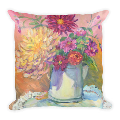 Dahlias Still Life Pillow - Liz Lauter Designs